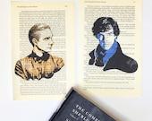 Sherlock Holmes, Doctor John Watson, Tv show, art print on vintage, novel paper, library book page, Benedict Cumberbatch, Martin Freeman