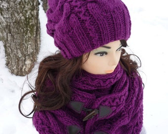Made to Order! Hat scarf in Purple - warm hat scarf  set - women knitted set - winter hand knit set Soft Wool Chunky Knit Infinity Scarf