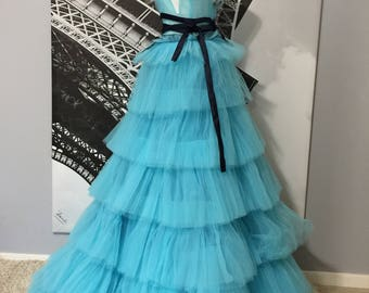 Blue Silk Tull Gown