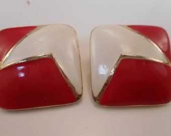 Vintage Red and White Enamel Earrings with Gold Accents