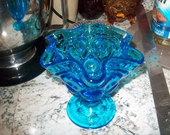 Vintage Turquoise Blue Glass Small Compote