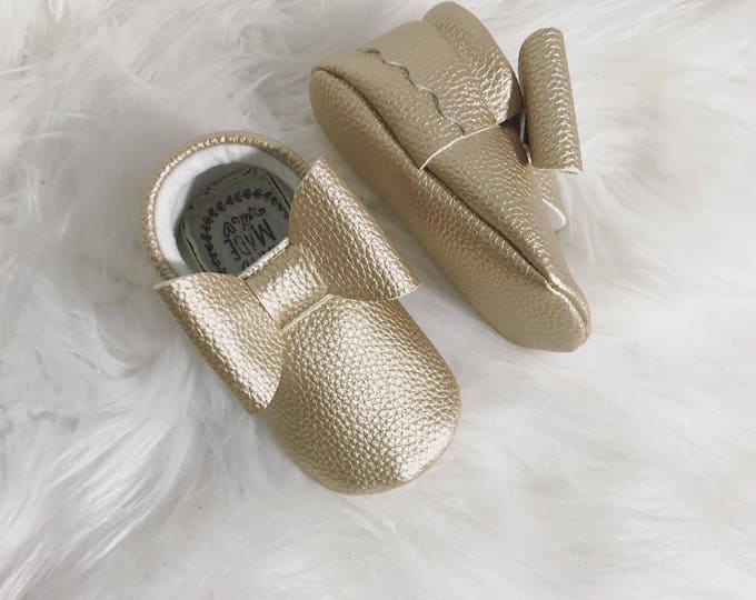 Gold Bow Vegan Leather Baby Moccasins