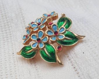 Enameled,  Trifari brooch, flowers.