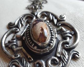 Damaso Gallegos, sterling silver, fire opal,locket ,pendant.