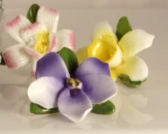 Vintage Ceramic Flower Place Card Holders/Antique Assorted Place Card Holders/Ceramic Place Card Holders for Dinning Table/Place Holders