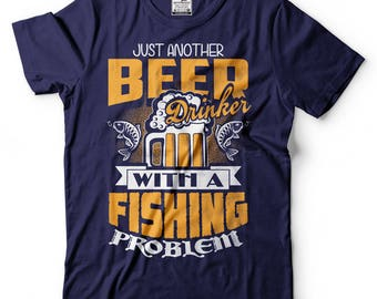 Fisherman T-Shirt Funny Fishing Beer Drinker Graphic Humor Tee Shirt