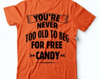 Halloween T-Shirt Funny Halloween Candy Trick Or Treat Orange Halloween Costume Party Tee Shirt