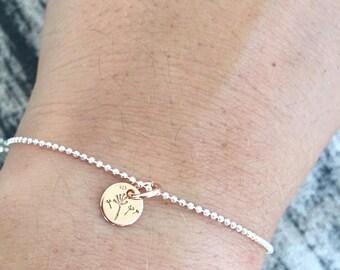 925 silver bracelets with mini dandelion pendant