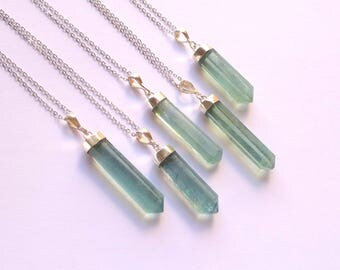 Fluorite Necklace Crystal Necklace Fluorite Pendant Crystal Point Blue Fluorite Jewelry Sterling Silver Setting Stone Necklace Boho Gemstone