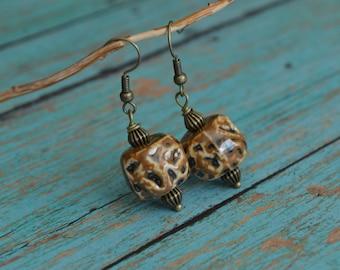 Ceramic Earrings, Boho Earrings, Brown Earrings, Gift Idea, Gift For Her, Bohemian Earrings, Handmade Earrings