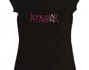 """Women's Rhinestone T-Shirt """" Pink Rockstar """" in S, M, L, 1x, 2x, 3x"""