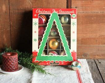 Vintage Mercury Glass Ornaments, Set of Christmas Balls, Glass Christmas Balls, Mid Century Christmas Ornaments, Christmas Ball Ornaments