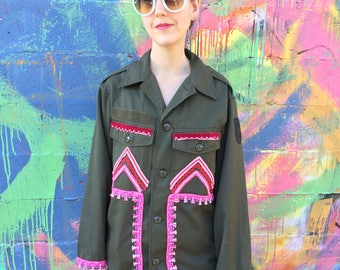 Embellished Army Jacket Shirt / Pink Tassel Trim / Upcycled Boho Top Women's Small S