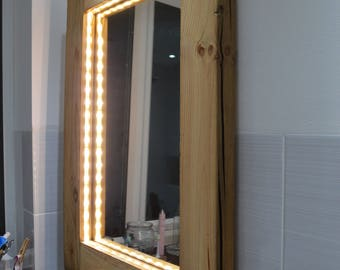 Recycled Wood Mirror with LEDS