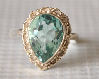 Sterling Silver Aquamarine Ring Sz 6.5  #9742