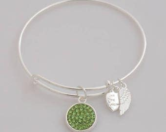 AA1002B  Green Pave Crystal Adjustable Wire Bracelet w Angel Wing & Heart Metal Charms ~ Silver Plated