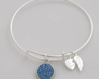 AA1012B Shiny Dark Aqua Pave Crystal Adjustable Wire Bracelet w Small Angel Wing & Heart Charms ~ Silver Plated