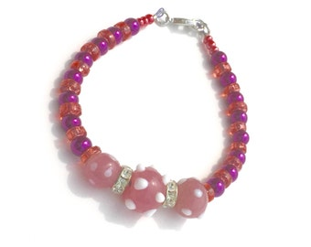 Bold Jewelry, Colorful Bracelet, Cute Bracelet, Polka Dot Bracelet, Magenta and Pink, Color Pop, Beaded Bracelet