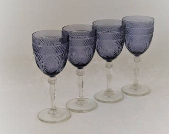 Vintage Amethyst Purple Cristal d'Arques Durand Tall Wine Glasses Set of 4