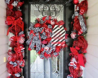 Christmas Wreath with Door Garland, Red and Black Christmas Wreath, Door Hanger, Christmas Decor