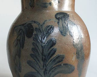 DECORATED Stoneware PITCHER One Gallon Floral Pot Jar - Philadelphia Baltimore Pottery Mud Clay Cobalt Blue Crock Churn + Antique Bottles!
