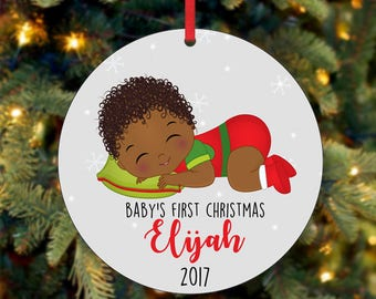 Baby's First Christmas Ornament, Personalized Christmas Ornament, Custom Ornament, African American Christmas Ornament, 2017 Ornament (0038)
