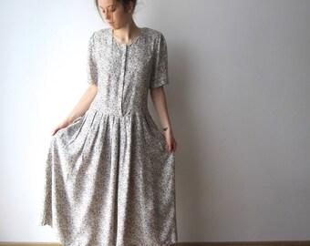 90's Summer Midi Dress Vintage Flowers Print Dress Hipster Festival Dress Medium Size Dress Shoulder Pads Dress Church Dress Teacher Dress