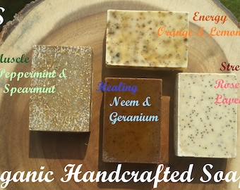 Organic Handcrafted Cold Processed Soap Gift Set, (four) 4oz solid soap bar, Gift for her, Artisan Handmade Soap.