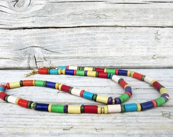 Mens Turquoise Necklace, Colorful Turquoise Necklace, Choker Necklace, Mens Beaded Jewelry, Mens Beaded Necklace, Mens Surfer Necklace