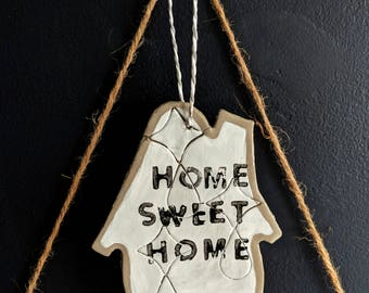 Home Sweet Home wall hanging plaque / black and white clay house / distressed and shabby chic with a diamond pattern / new home gift decor