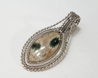 Ocean Jasper, Wire Wrapped, Sterling Silver, Pendant, .925 Sterling Silver, Pink, Green, Necklace, Beading, Jewelry, Supply