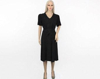 Vintage 1940s Dress 6 - Black 40s Dress 6 - Vintage Black Dress 6 - Vintage LBD 6 Vintage LBD Medium LBD Small Black 1940s Dress