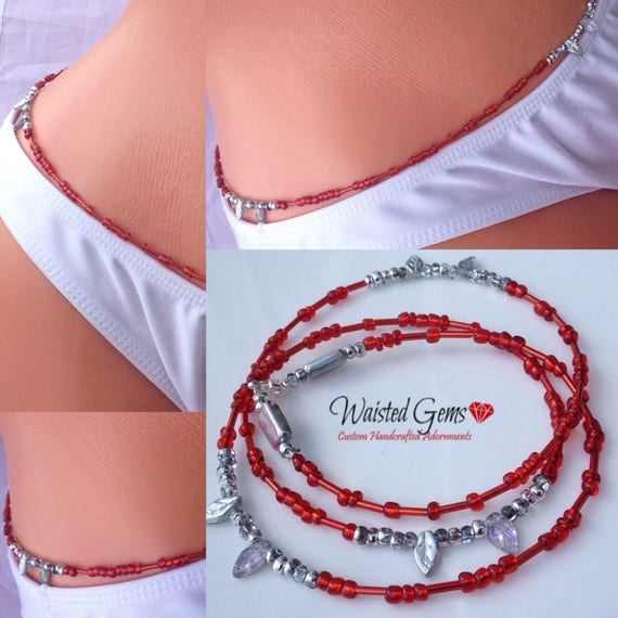 Red Frost Waist Beads, Belly Chain, Body Beads, Red Waist Bead, red bikini, waist beads zmw4434.9