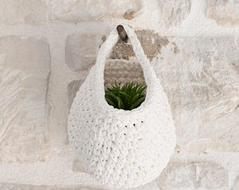 Crochet Hanging Basket, Crochet Basket, White hanging basket, White, Housewares, Storage Solutions