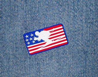 Awesome USA American Downhill Skiing Ski Skier Patch Badge for Hat Cap Jacket