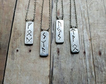 Sterling Silver Witch Runes Vertical Bar Necklace, Ostara gift, wiccan witch pagan, occult jewelry , viking nordic protection spell