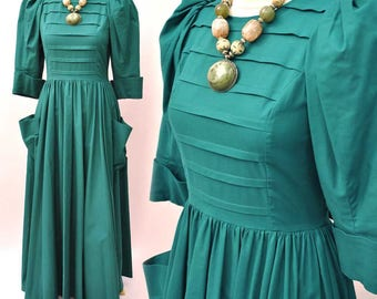 Vintage 1980s Emerald Green Droopy & Browns Edwardian Style Dress • by Angela Holmes