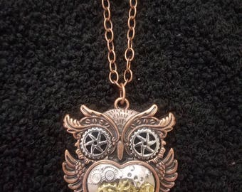 Steampunk Owl Pendant Necklace