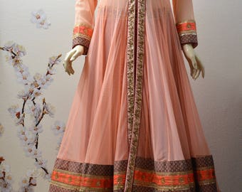 Indian Pakistani wedding party wear Peach and gold lehenga blouse front open jacket