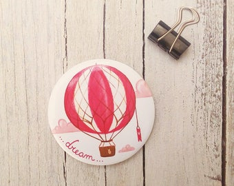 """Illustrated Magnet """"dream"""" - Magnetic Fridge illustration with air balloon"""