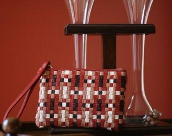 Woven Lambskin Brett Wristlet with exclusive weave pattern