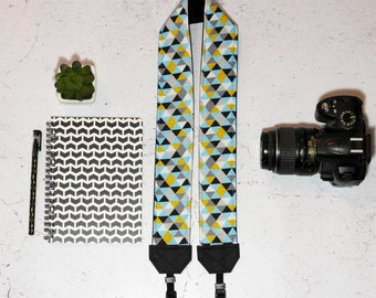 Nordic style camera strap | Padded geometric cotton reflex camera strap | Triangles camera strap | Vegan unisex camera strap | Hygge