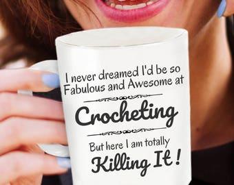 Crochet Gifts Ideas - Crocheting Mom - Crochet Coffee Mug - Crochet Gifts - Free Domestic Shipping Until 1/06/18