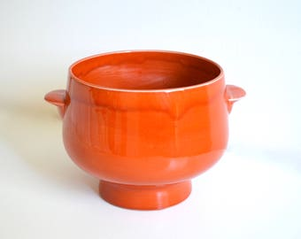 Mid Century Orange Ceramic Serving Bowl