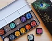 Acuarelas Finetec Metalizadas 12 colores para Caligrafía