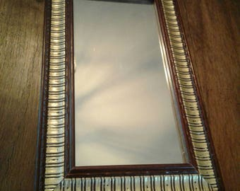 Vintage mirror.....rectangle......gold and cherry red paint....excellent condition.