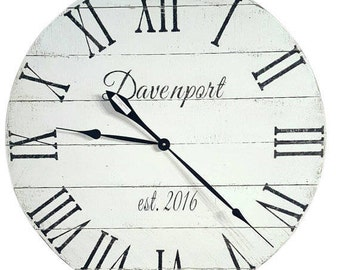 Personalized Clock-Farmhouse Clock- Reclaimed Wood Clock- Wood clock- Rustic Clock- Numeral Clock- Pallet Clock - White Clock