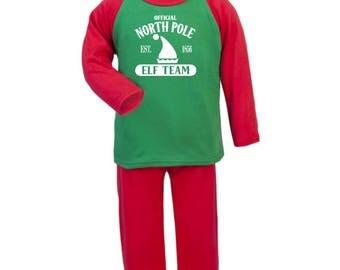 Christmas Pyjamas |  North Pole | Elf Team | Christmas PJS | Xmas Pyjamas | Xmas PJS | Boys | Girls | Toddler | Pyjamas | Xmas | Eve Box