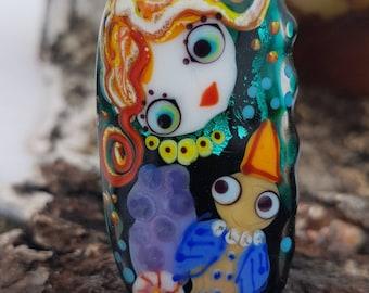 Handmade lampwork glass bead, artisan focal beads lampwork necklace pendant Girl and bird