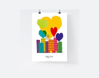 A3 - Paper poster - My City - poster, heart, bubble, balloon, child, room, decoration, illustration, color, entry - A